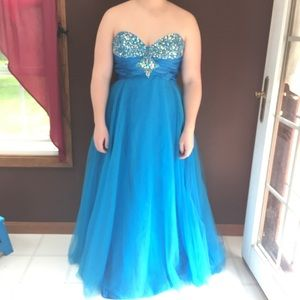Blue, layered, Rhinestone bodice Gown